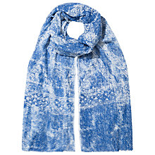 Buy East Blurred Zig Zag Scarf, Blue Online at johnlewis.com