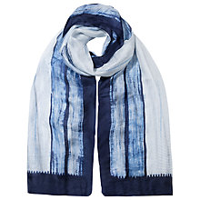 Buy East Shibori Line Printed Silk Scarf, Indigo Online at johnlewis.com