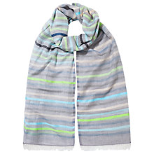 Buy East Stripe Cotton Scarf, Green/Multi Online at johnlewis.com