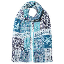 Buy East Patchwork Printed Scarf, Blue Online at johnlewis.com