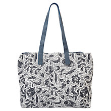 Buy East Marissa Print Jute Hobo Bag, Navy Online at johnlewis.com
