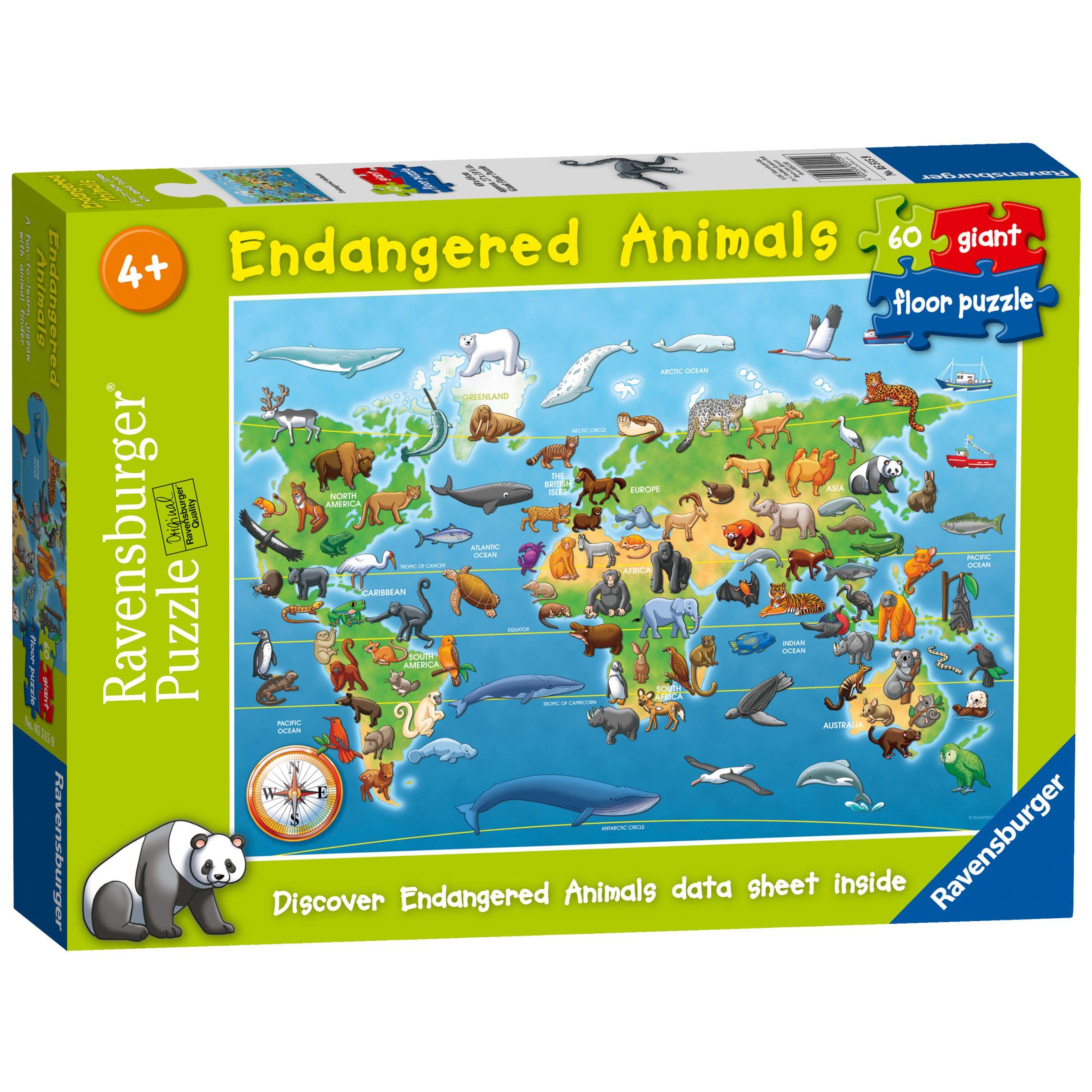Ravensburger Ravensburger Endangered Animals Jigsaw Puzzle, 60 Pieces