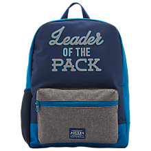 Buy Joules Leader of the Pack Children's Backpack, Navy/Grey Online at johnlewis.com