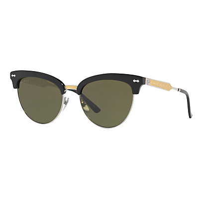Gucci GG0055S Cat's Eye Sunglasses, Black/Grey