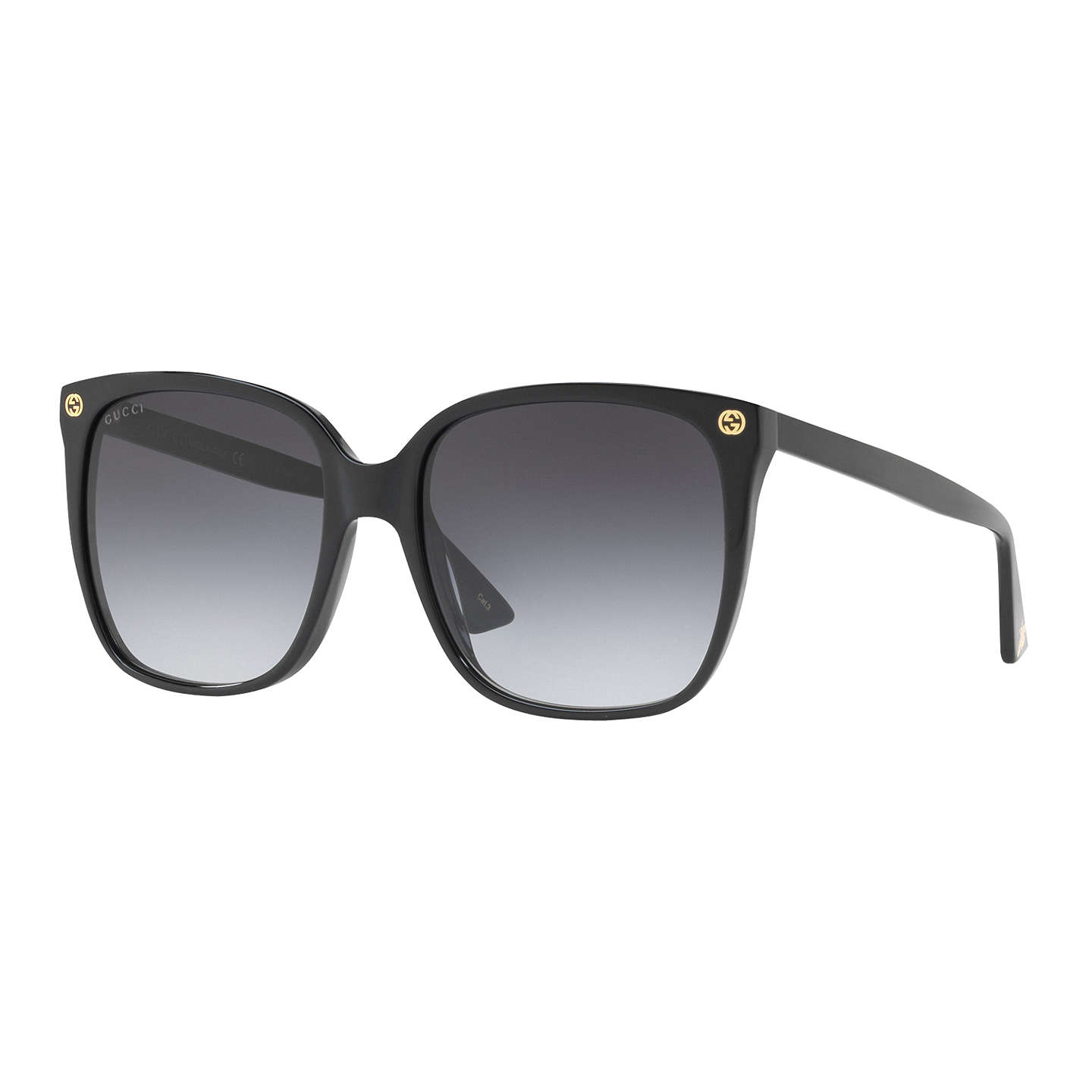 Gucci Gg0022 S Square Sunglasses, Matte Black/Grey Gradient by Gucci