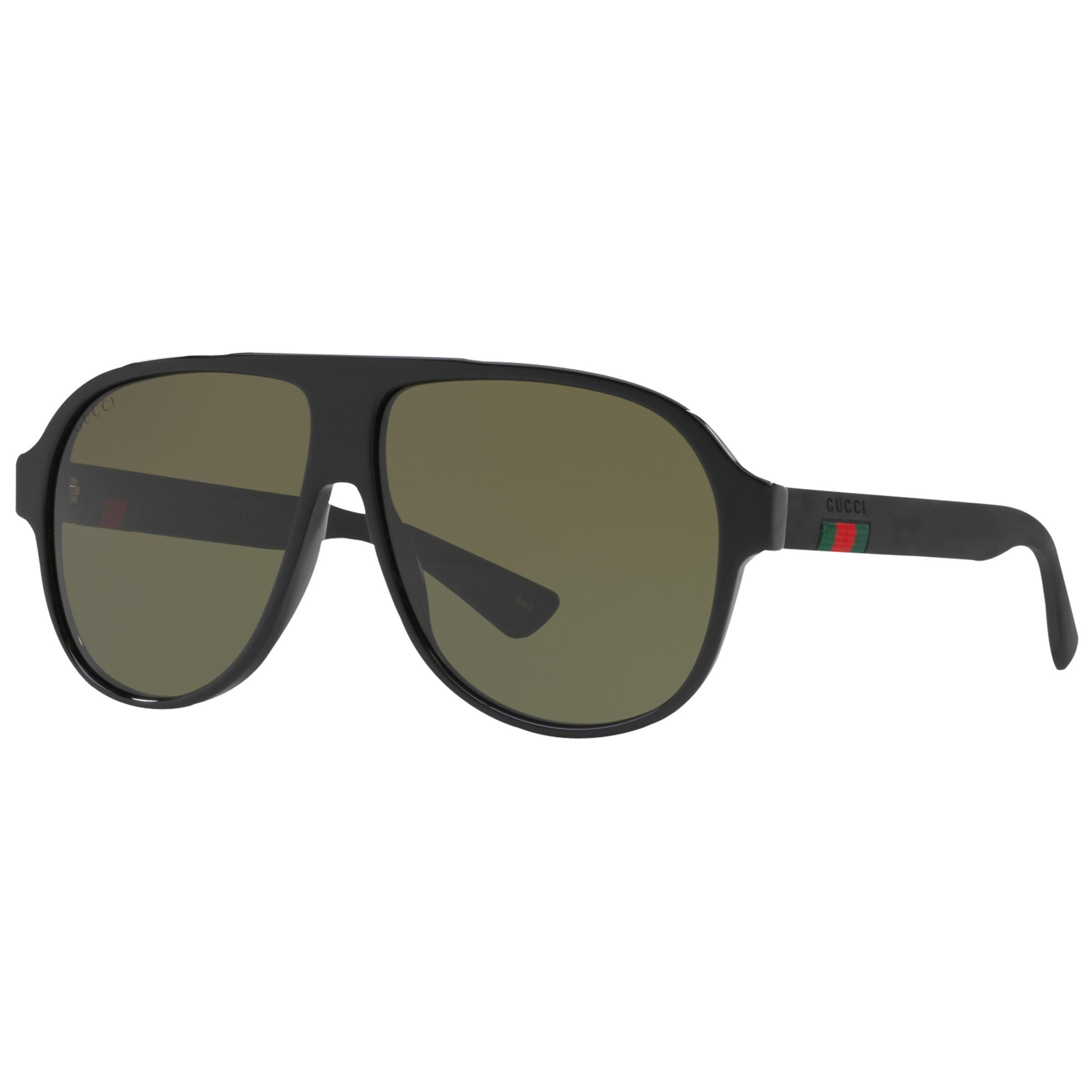 21d585b4 Gucci GG0009S Aviator Sunglasses, Matte Black/Green