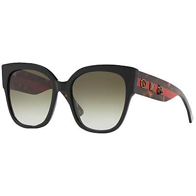 Gucci GG0069S Studded Square Sunglasses, Black/Grey Gradient