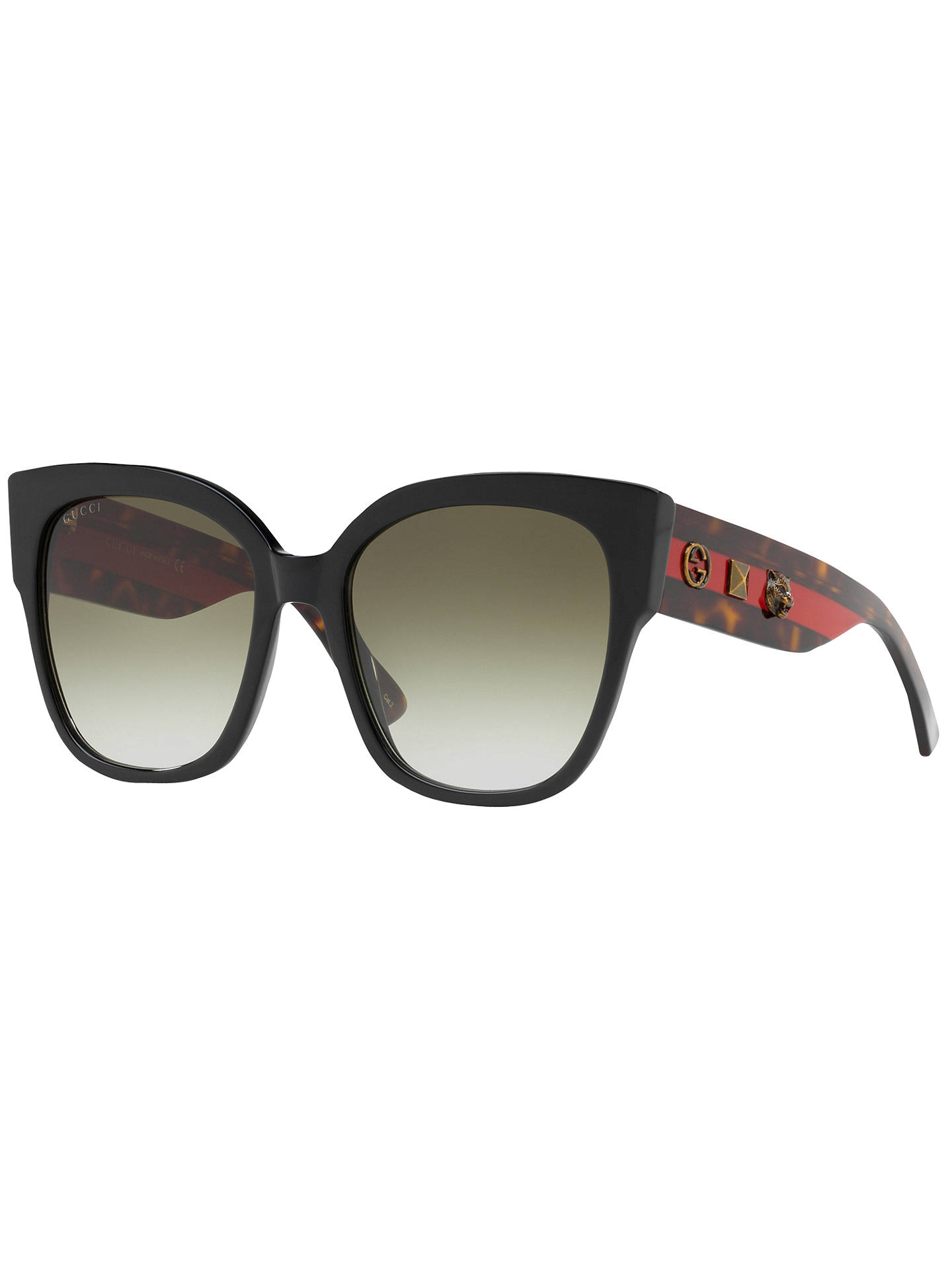 ed8d4ce8d Buy Gucci GG0069S Studded Square Sunglasses, Black/Grey Gradient Online at  johnlewis.com ...
