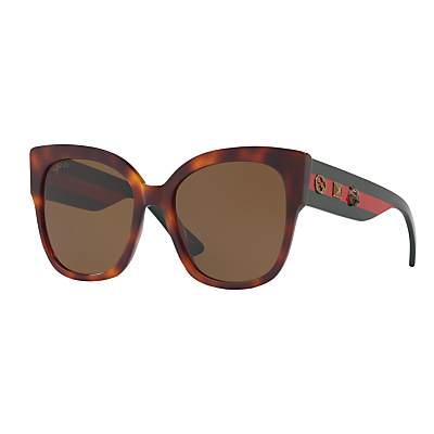 Gucci GG0059S Square Sunglasses, Tortoise/Brown