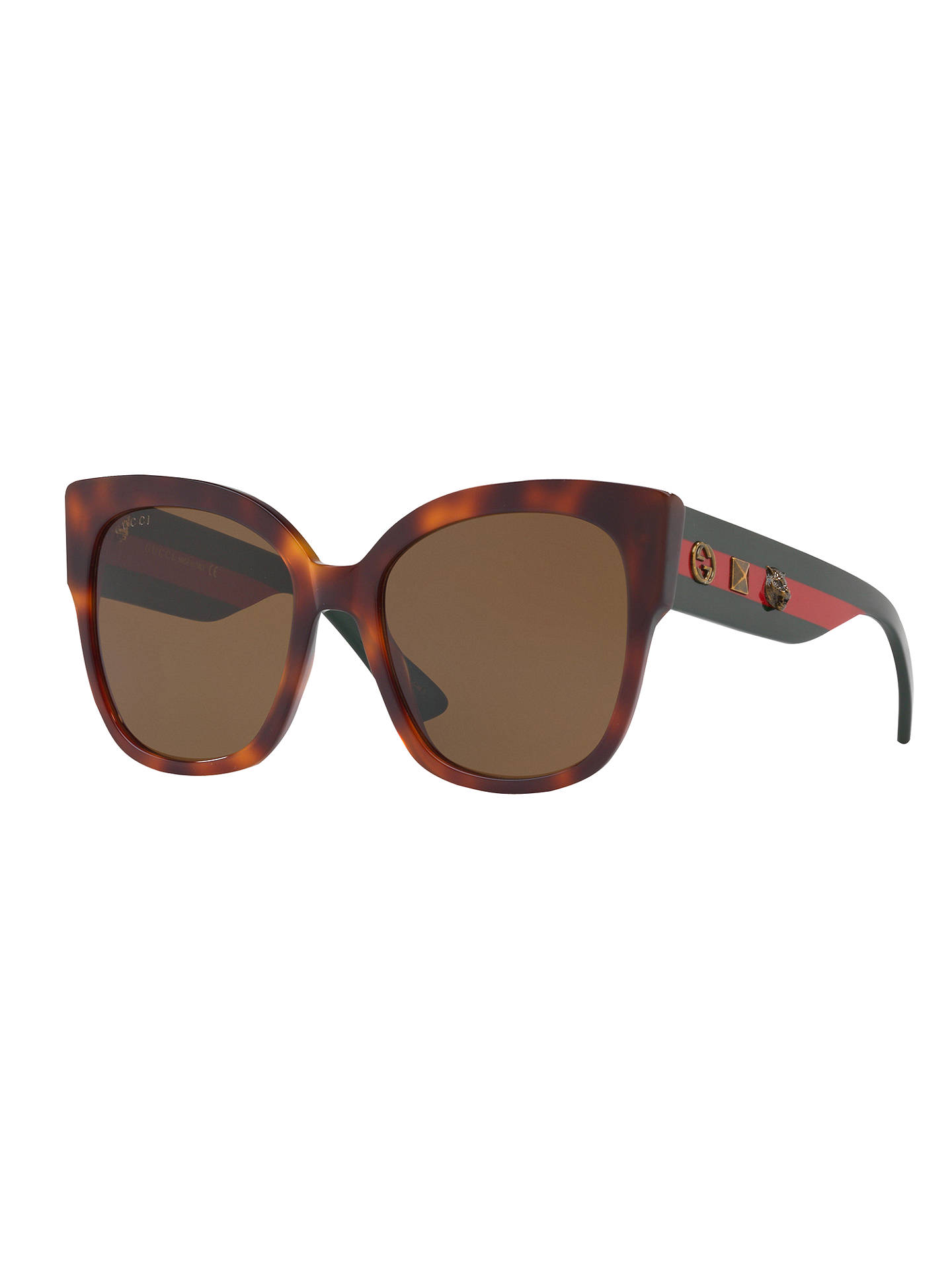 BuyGucci GG0059S Square Sunglasses, Tortoise/Brown Online at johnlewis.com