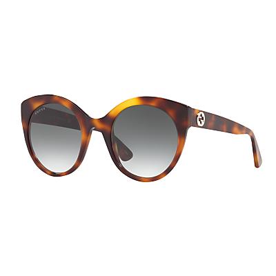 Gucci GG0028S Oval Sunglasses, Tortoise/Grey Gradient