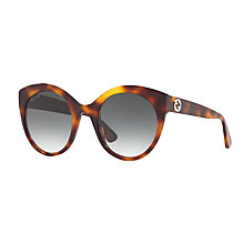 Buy Gucci GG0028S Oval Sunglasses, Tortoise/Grey Gradient Online at johnlewis.com