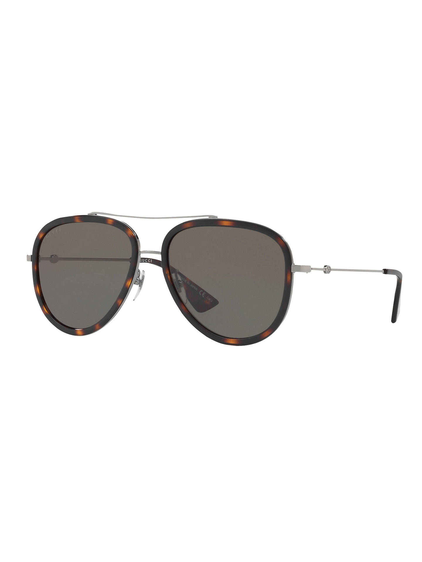 a9fef2c7f Buy Gucci GG0062S Aviator Sunglasses, Dark Tortoise/Grey Online at  johnlewis.com ...
