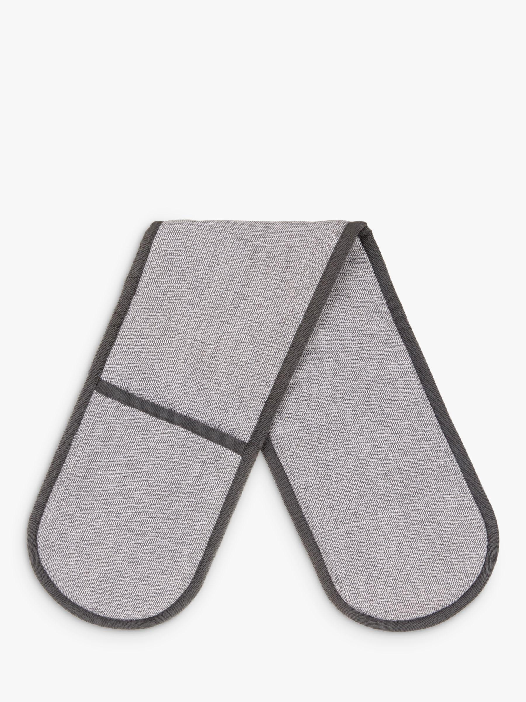 John Lewis & Partners Cotton Double Oven Glove, Steel
