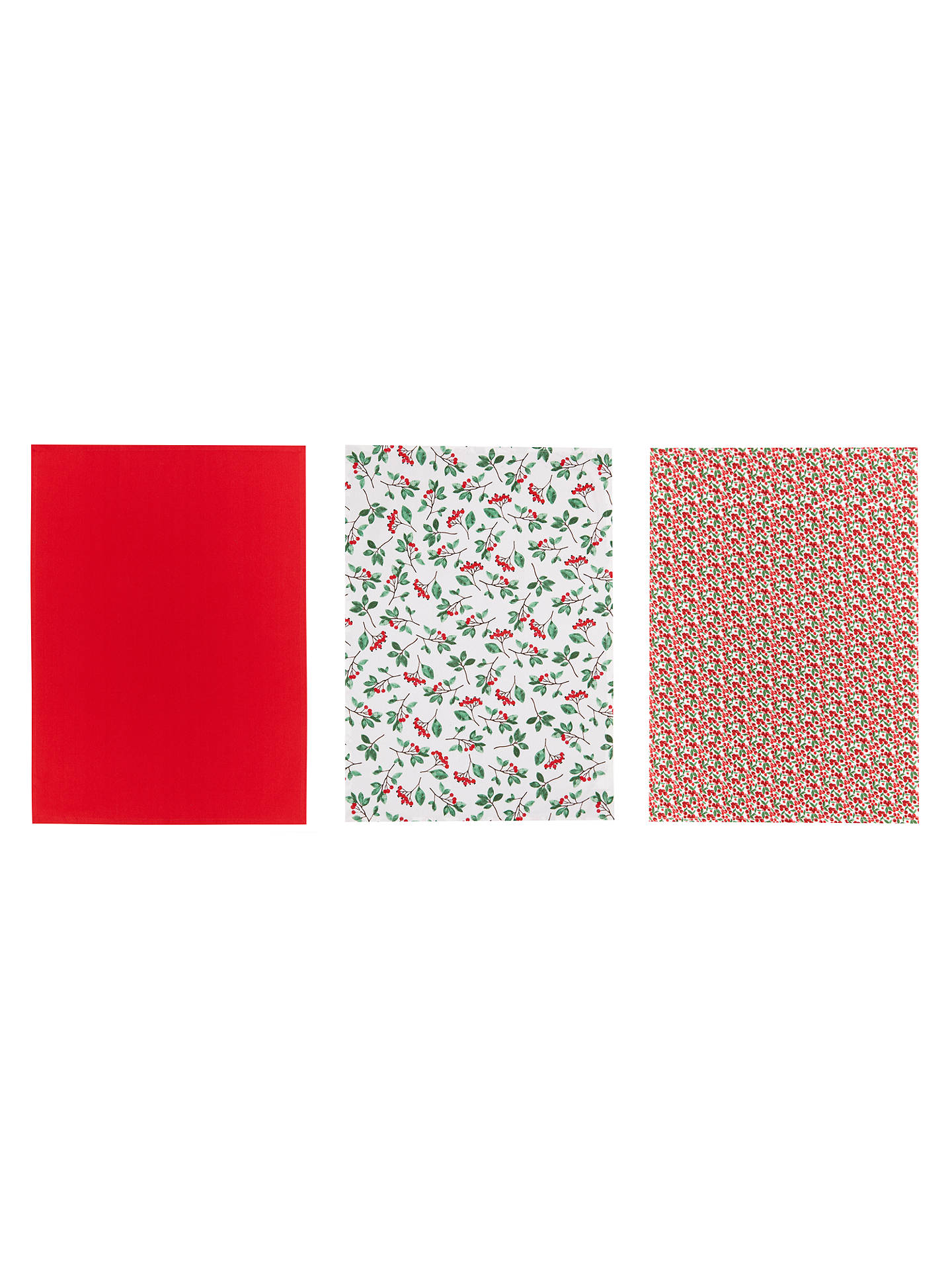 Buy John Lewis Christmas Berries Tea Towels, Red/Multi, Set of 3 Online at johnlewis.com