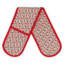 Buy John Lewis Christmas Berries Double Oven Glove, Red Online at johnlewis.com