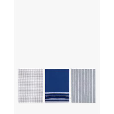 John Lewis Check Stripe Tea Towels, Set of 3, Blue/Multi