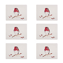 Buy John Lewis Winter Robin Placemats, Red/White, Set of 6 Online at johnlewis.com