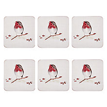 Buy John Lewis Winter Robin Coasters, Red/White, Set of 6 Online at johnlewis.com