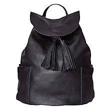 Buy White Stuff Classic Leather Backpack, Black Online at johnlewis.com