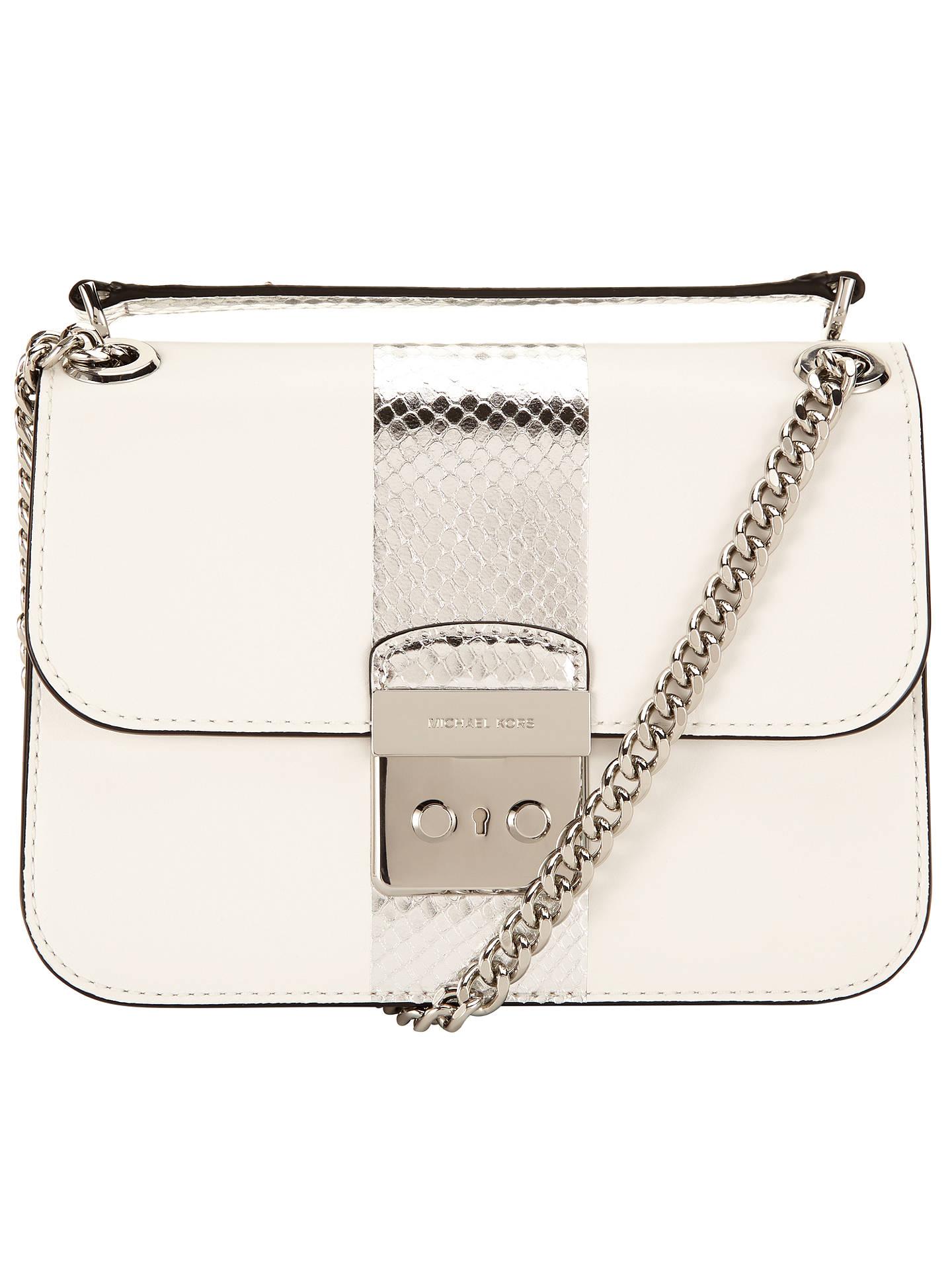 b685d303c32152 Buy MICHAEL Michael Kors Sloan Editor Medium Leather Chain Shoulder Bag,  Optic White Online at ...