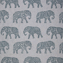 Buy John Lewis Elephant Embroidery Curtain, Blue Online at johnlewis.com
