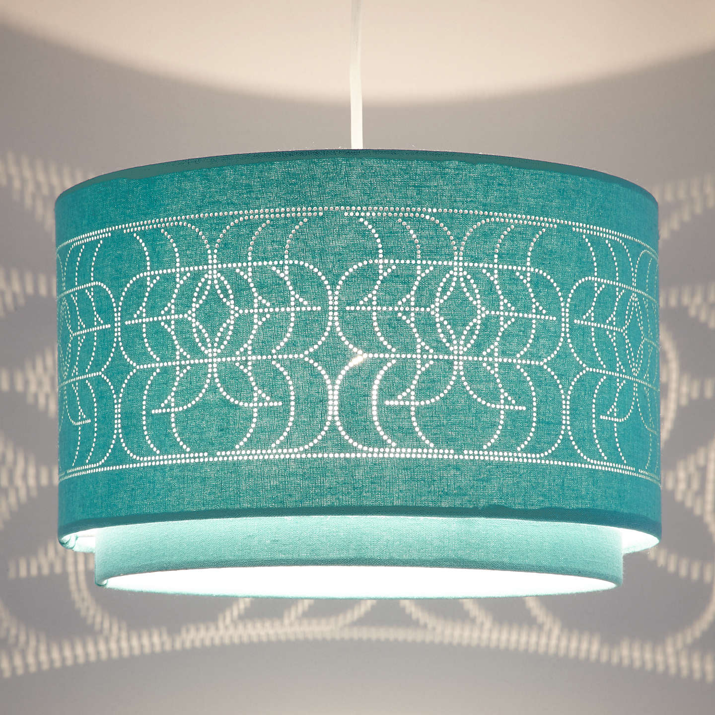 Buyjohn Lewis Easy To Fit Arvid Pierced Linen Ceiling Shade, Teal Online