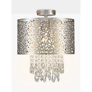Ceiling lighting furniture lights john lewis john lewis destiny fretwork semi flush ceiling light chrome mozeypictures Images