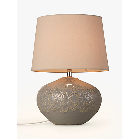 Buy John Lewis Eliza Embossed Table Lamp, Blue / Grey Online at johnlewis.com