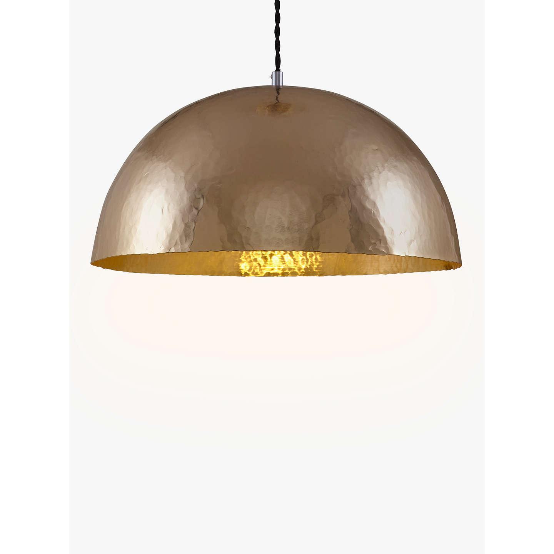 John Lewis Nala Hammered Pendant Ceiling Light Brass At
