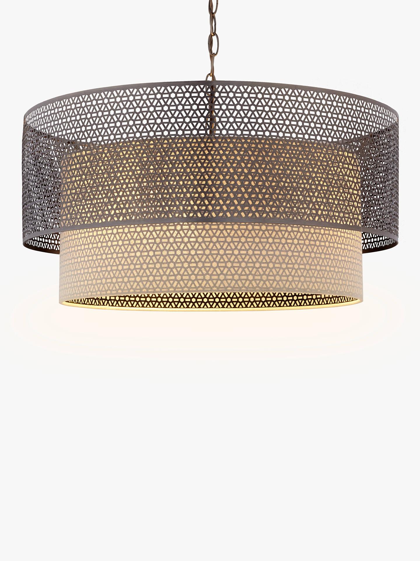 John Lewis Partners Meena Fretwork Steel Pendant Light Large