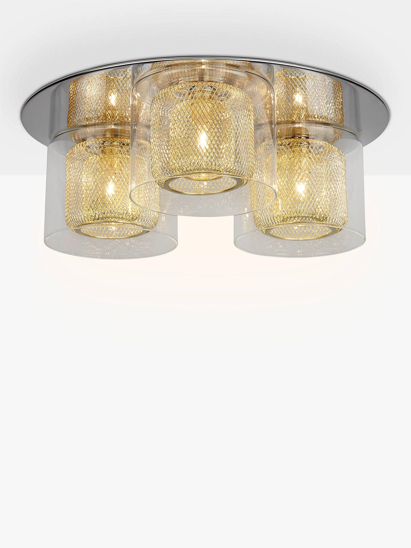 Buy john lewis partners kyla semi flush 3 light ceiling fitting brass online at