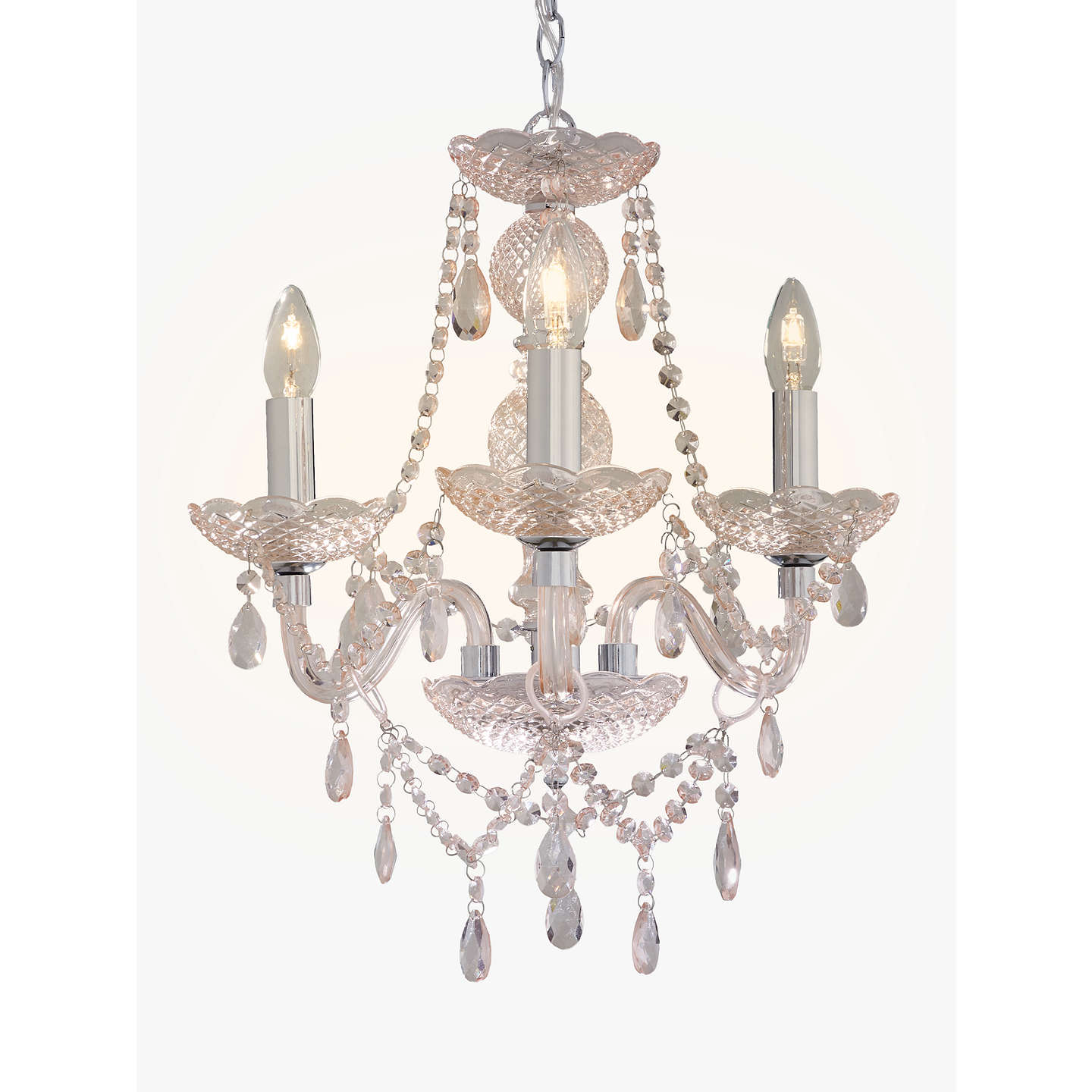 John lewis bethany chandelier 3 arm at john lewis buyjohn lewis bethany chandelier 3 arm pink online at johnlewis aloadofball Image collections