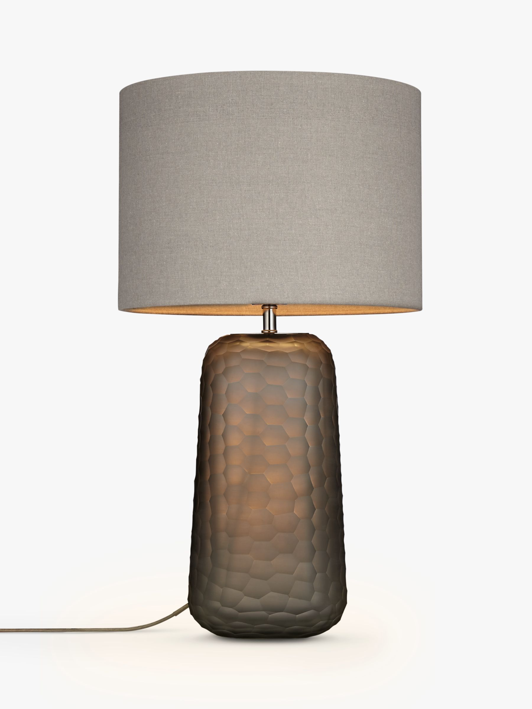 John Lewis Partners Lucian Frosted Glass Table Lamp Grey At John