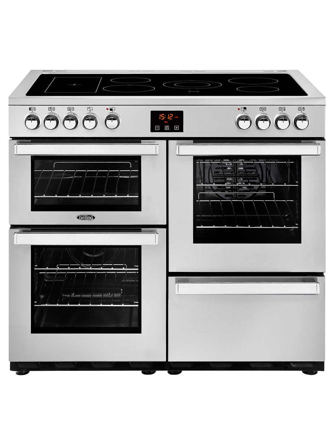 Buy Belling Cookcentre 100E Electric Range Cooker with Ceramic Hob, Stainless Steel Online at johnlewis.com