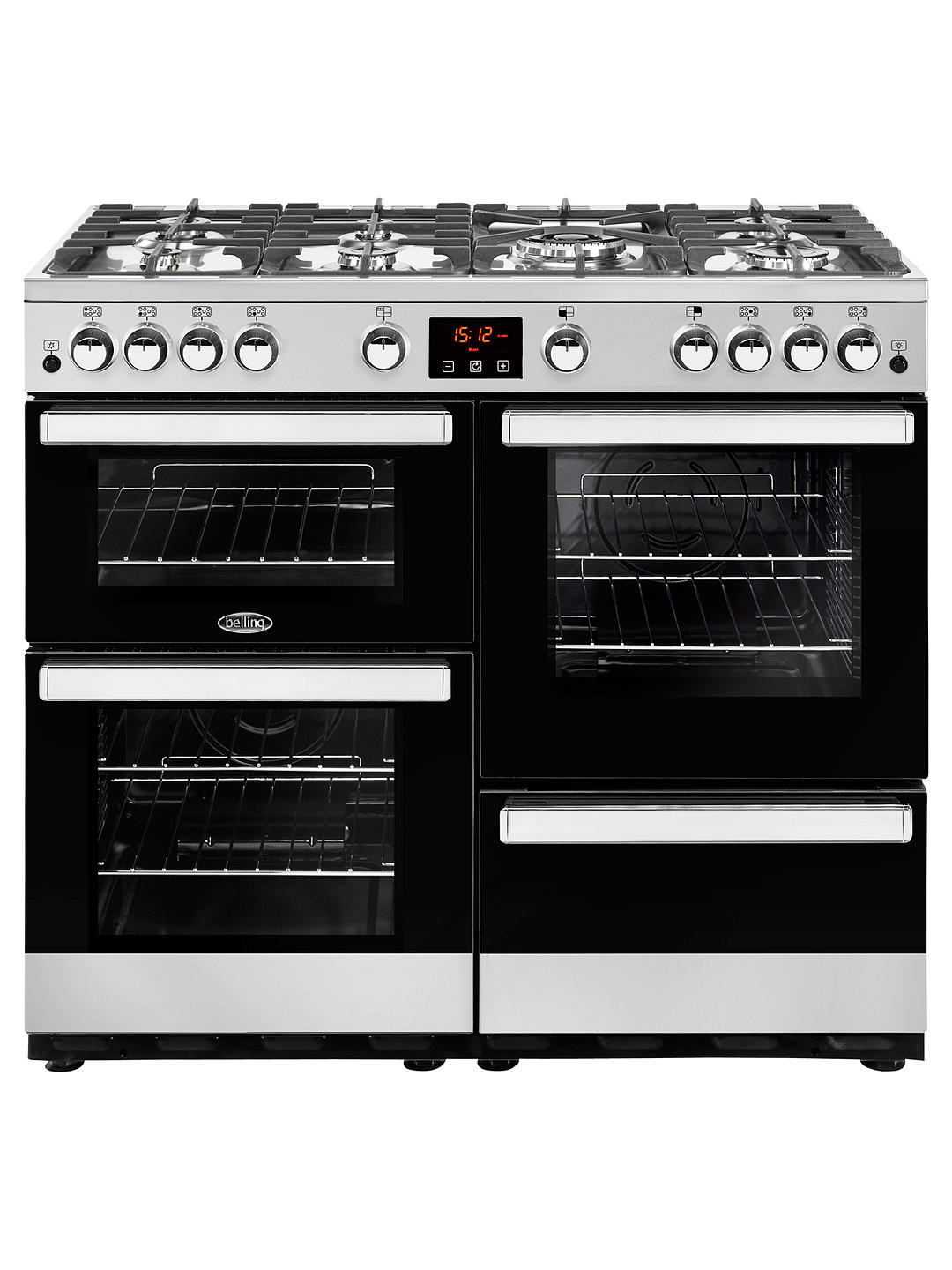 Buy Belling Cookcentre 100G Gas Range Cooker, Stainless Steel / Black Glass Online at johnlewis.com