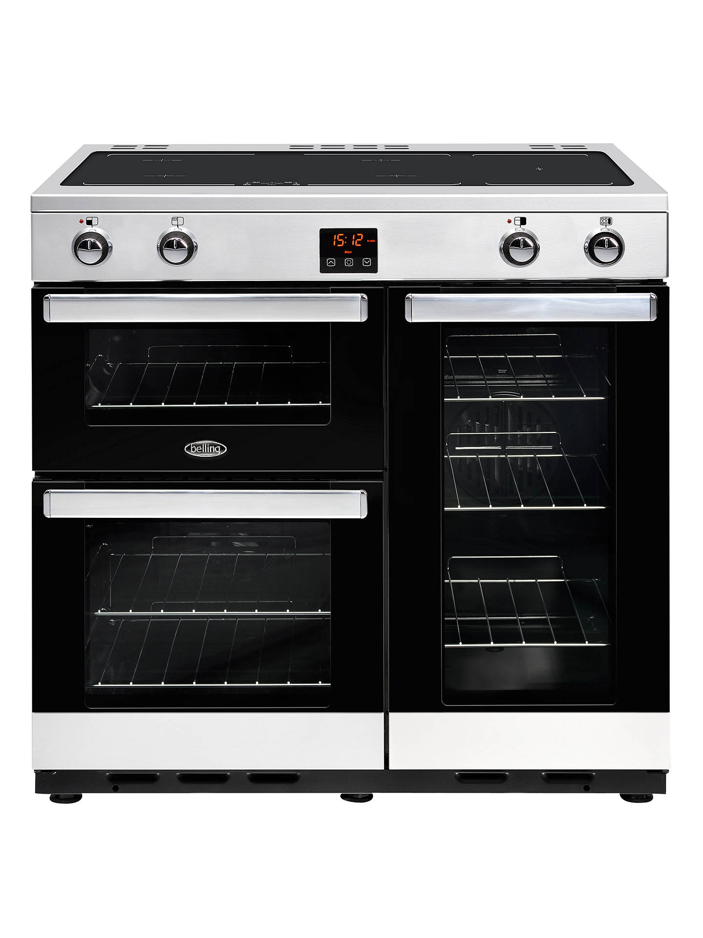 BuyBelling Cookcentre 90EI Electric Range Cooker With Induction Hob, Stainless Steel / Black Online at johnlewis.com