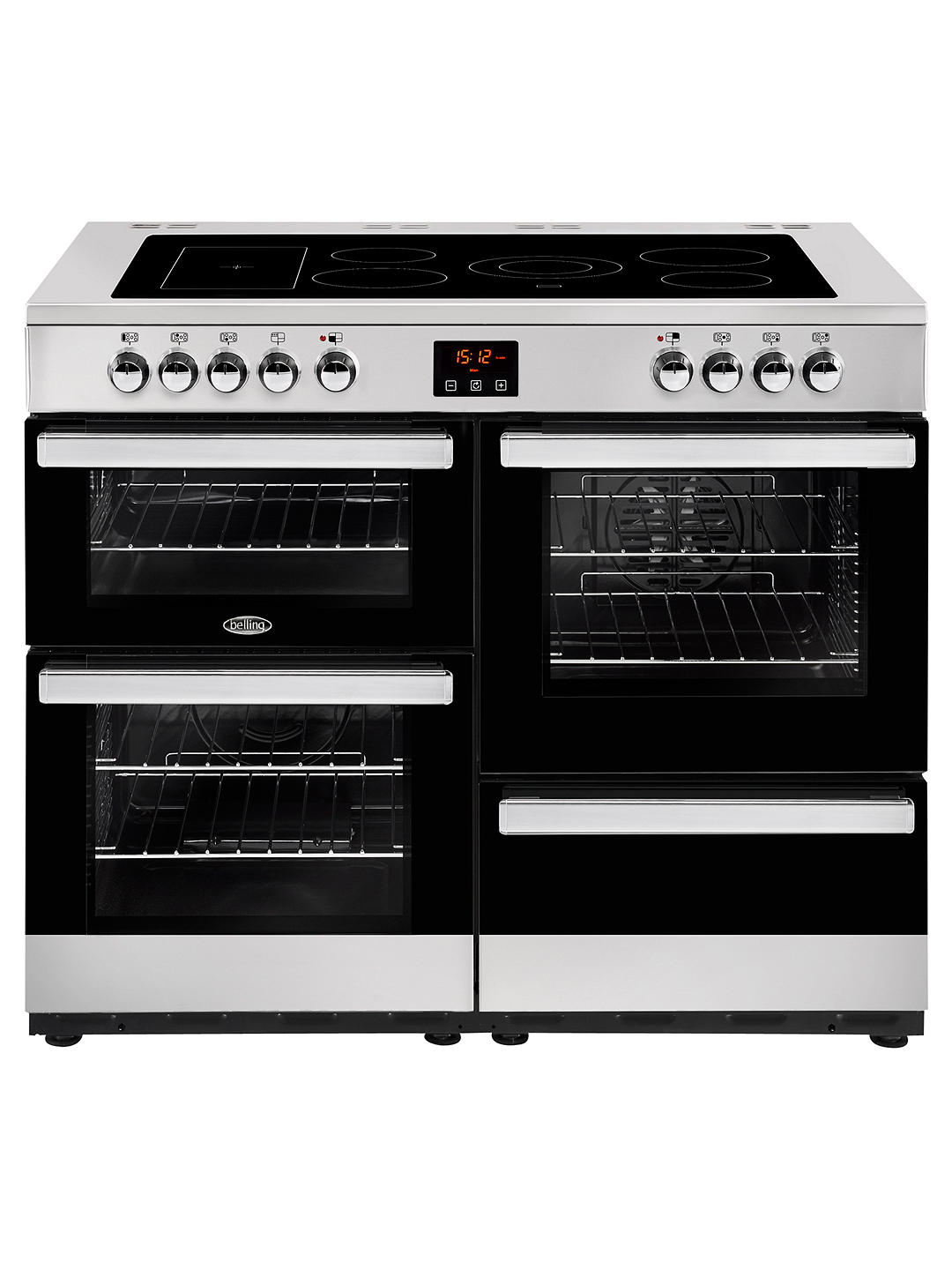 Buy Belling Cookcentre 110E Electric Range Cooker with Ceramic Hob, Stainless Steel / Black Online at johnlewis.com