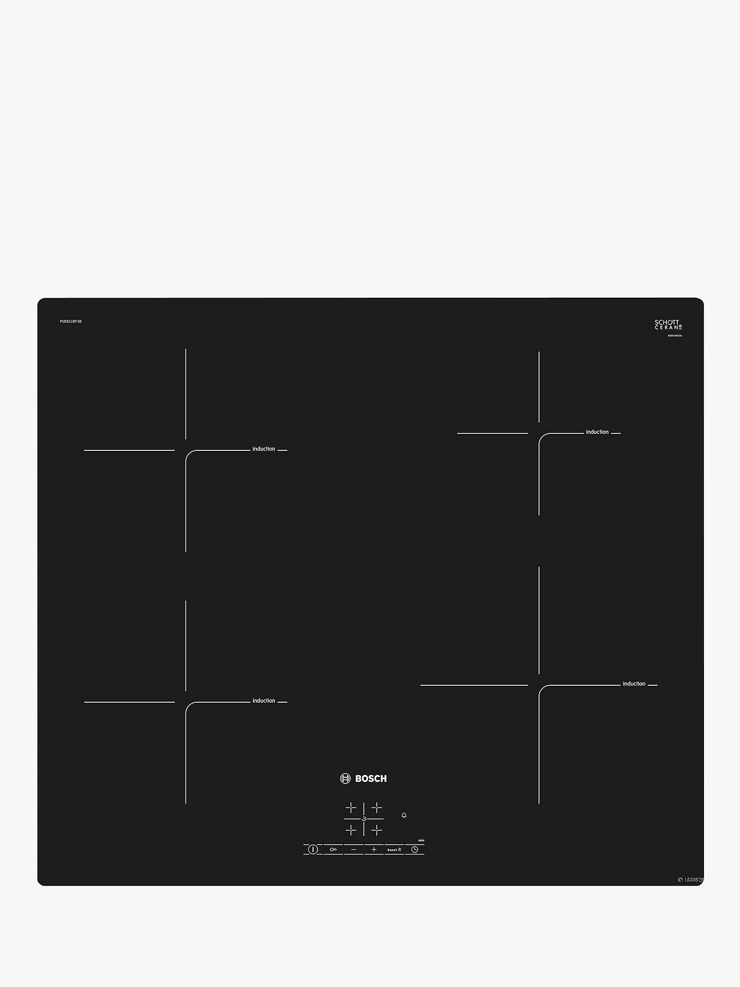Bosch Pue611bf1b Induction Hob Black At John Lewis Partners Cooker Schematic Circuit Diagram Buybosch Online