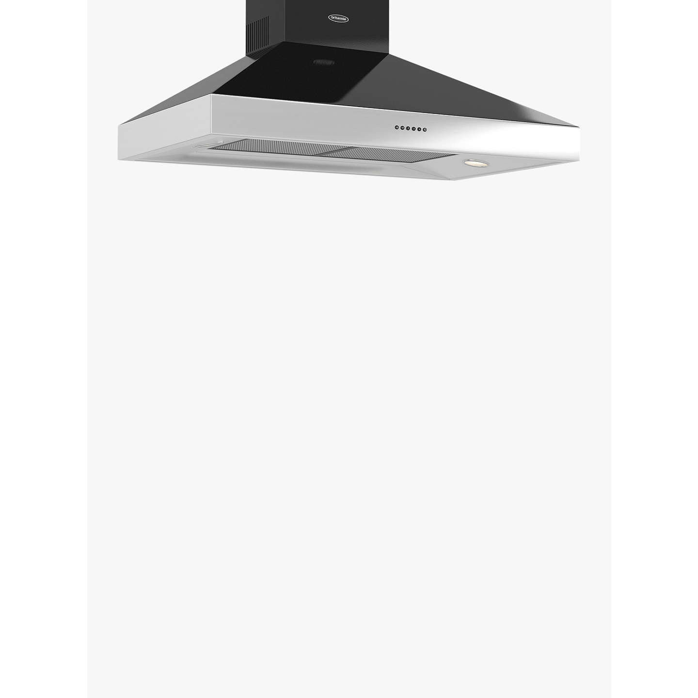 BuyBritannia HOOD-BTH100-GB Latour 2tone Chimney Cooker Hood, Black Gloss Online at johnlewis.com