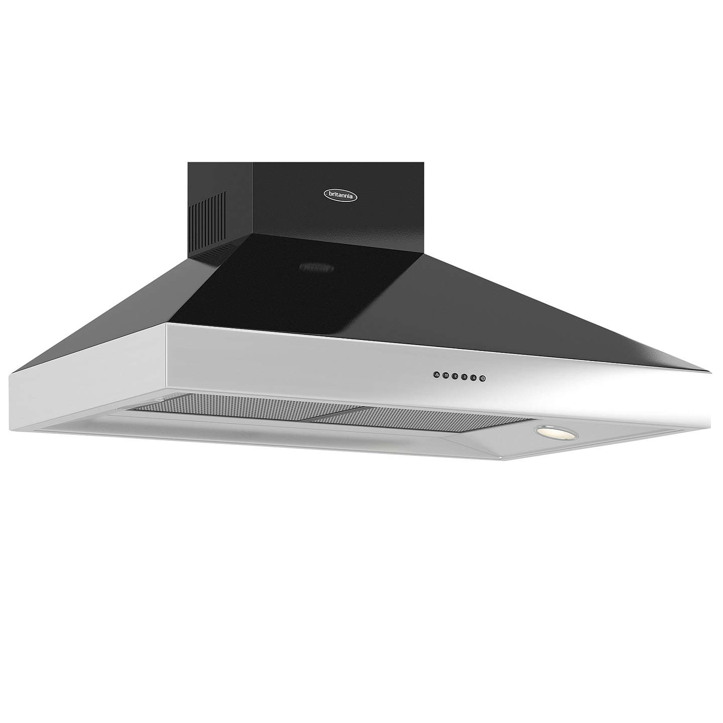 BuyBritannia HOOD-BTH90-GB Latour 2tone Chimney Cooker Hood, Black Gloss Online at johnlewis.com