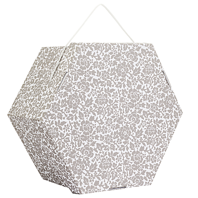 John Lewis Archive Floral Print Hexagonal Occasion Hat Box, Grey, 20