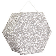 "Buy John Lewis Floral Print Hexagonal Occasion Hat Box, Grey, 22"" Online at johnlewis.com"