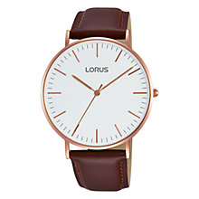 Buy Lorus RH880BX9 Men's Leather Strap Watch, Maroon/White Online at johnlewis.com