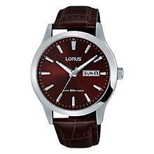 Buy Lorus RXN31DX9 Men's Day Date Leather Strap Watch, Maroon Online at johnlewis.com