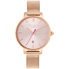 Buy Ted Baker TE10031548 Women's Kate Date Mesh Bracelet Strap Watch, Rose Gold/Pink Online at johnlewis.com