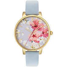 Buy Ted Baker TE10031546 Women's Katie Date Floral Leather Strap Watch, Pastel Blue/Multi Online at johnlewis.com