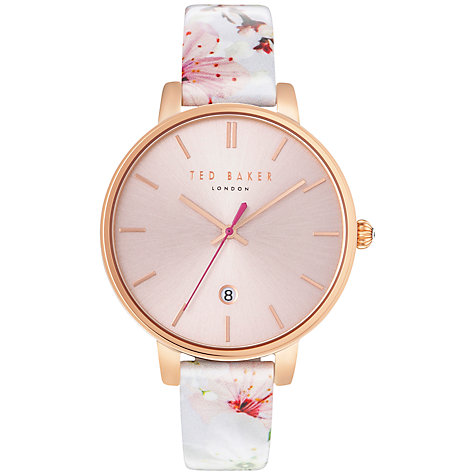 Buy Ted Baker TE10031541 Women's Katie Oriental Floral Date Leather Strap Watch, Multi/Pink Online at johnlewis.com