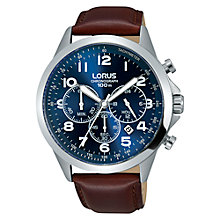 Buy Lorus RT379FX9 Men's Chronograph Date Leather Strap Watch, Maroon/Blue Online at johnlewis.com