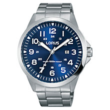 Buy Lorus RH925GX9 Men's Date Bracelet Strap Watch, Silver/Blue Online at johnlewis.com